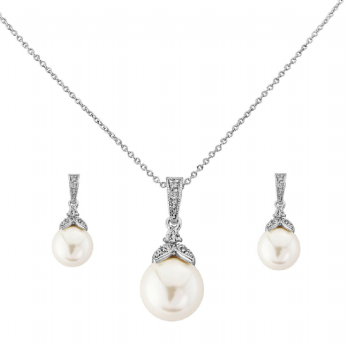 Pearl and Crystal Bridal Necklace Set, Pearl Drop Necklace Set with Vintage CZ